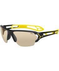 Cebe S-track stora blanka svarta solglasögon