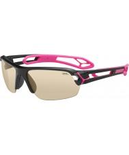 Cebe S-track medel glänsande svart magenta solglasögon