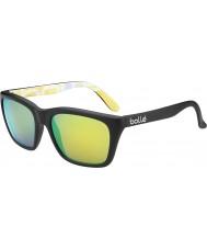 Bolle 527 retro samling matt svart grafik polarise brun smaragd solglasögon