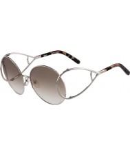 Chloe Damer ce124s silver och bruna solglasögon