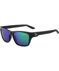 Cebe Hacker glänsande svart grön 1500 grå flash spegel gröna solglasögon