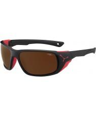 Cebe Jorasses stora matt svart röd 2000 brun flash spegel solglasögon