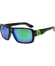 Cebe Lam glänsande svart grön solglasögon