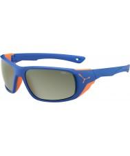 Cebe Jorasses stor matt blå apelsin variochrom topp flash spegel solglasögon