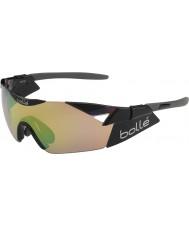 Bolle 6th Sense s glänsande svart modulator brun smaragd solglasögon
