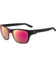 Cebe Hacker blanka svarta 1500 grå flash spegel rosa solglasögon