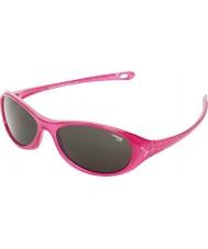 Cebe Gecko (okänd 5-7) glänsande rosa halvgenomskinliga 2000 grå solglasögon