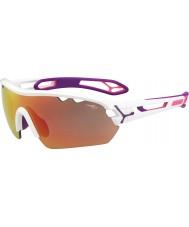 Cebe S-track mono medel skinande vita rosa 1500 grå spegel rosa solglasögon med tydlig ersättningslins