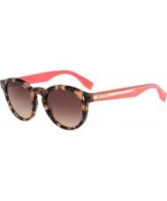Fendi Färgblock ff 0085-s hK3 d8 havana rosa solglasögon