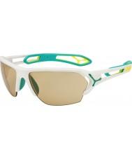 Cebe S-track stor matt vit turkos variochrom PERFO solglasögon med 500 tydliga ersättning lins