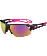 Cebe S-track medel glänsande svart magenta 1500 grå spegel rosa solglasögon med tydlig ersättningslins