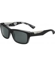 Bolle Jude matt svart argyle vita polarise tns solglasögon